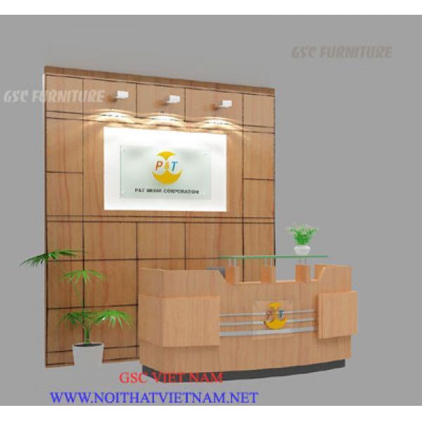 Back drop ốp gỗ verneer hoặc MDF  - bàn quầy lễ tân GSC-BD18