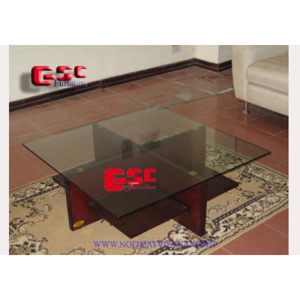 Bàn Sofa chân chữ thập, mặt kính GSC-BSF-01