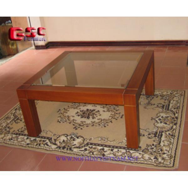 Bàn gỗ sofa vuông mặt kính GSC-BSF-09