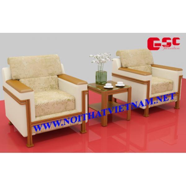 Ghế sofa đơn bọc da cao cấp màu trắng sữa GSC-G-SOFA-03