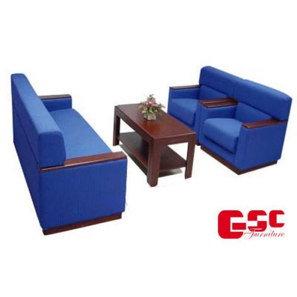 Salon gỗ tự nhiên, đệm bọc nỉ GSC-SLN01