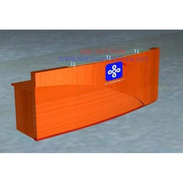 Mẫu thiết kế quầy lễ tân làm bằng gỗ verneer hoặc MDF LT09
