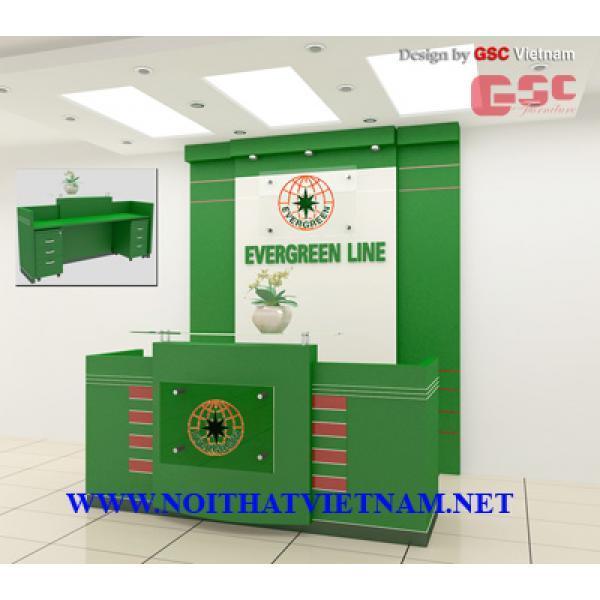 Mẫu thiết kế quầy lễ tân- công ty Evergreen Line LT100