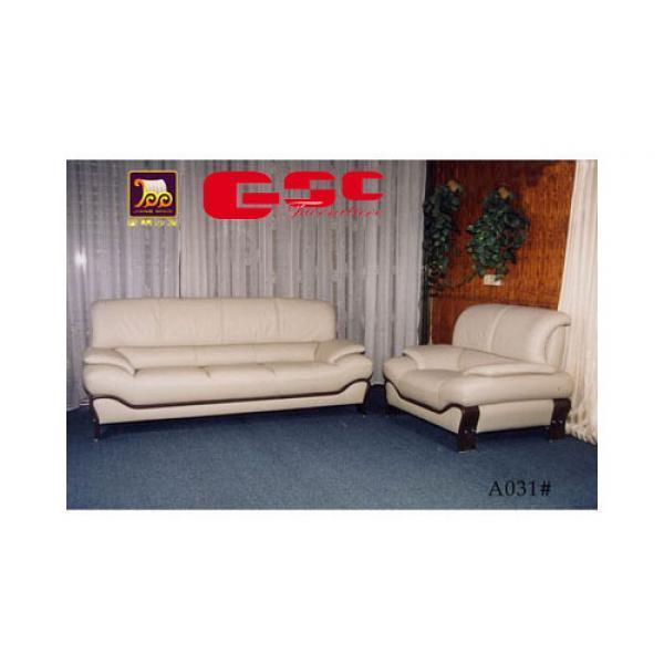 Sofa da CN màu trắng sữa, chân gỗ GSC-SF12