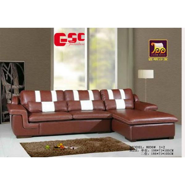 Sofa da màu socola, chân gỗ GSC-SF3