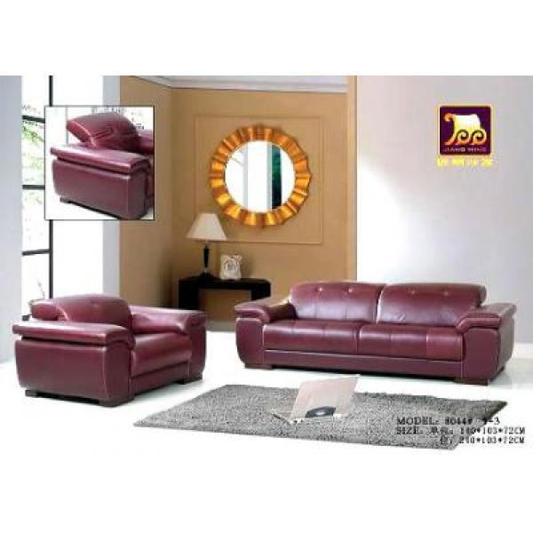 Sofa da cao cấp màu nâu cánh gián, chân gỗ GSC-SF4