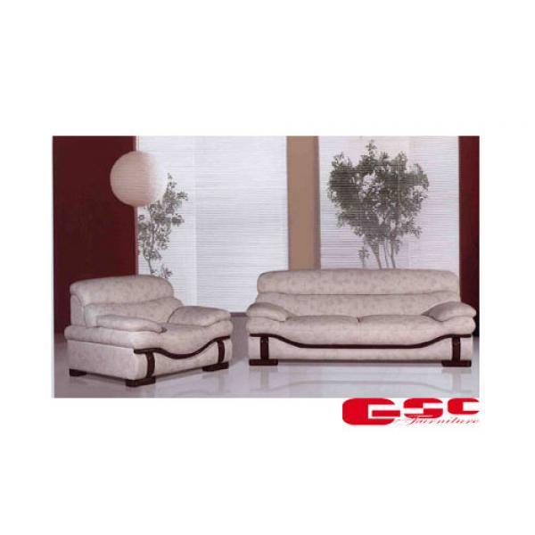 Sofa da CN màu trắng đốm lông cừa, chân gỗ SF6