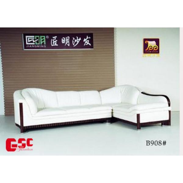 Sofa góc bọc da cao cấp, màu trắng, khung gỗ GSC-SFG10