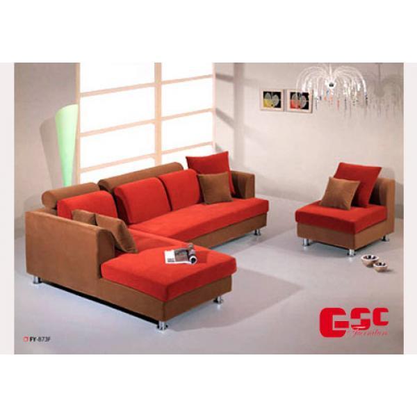 Sofa nỉ , màu đỏ nâu, chân inox SFN15