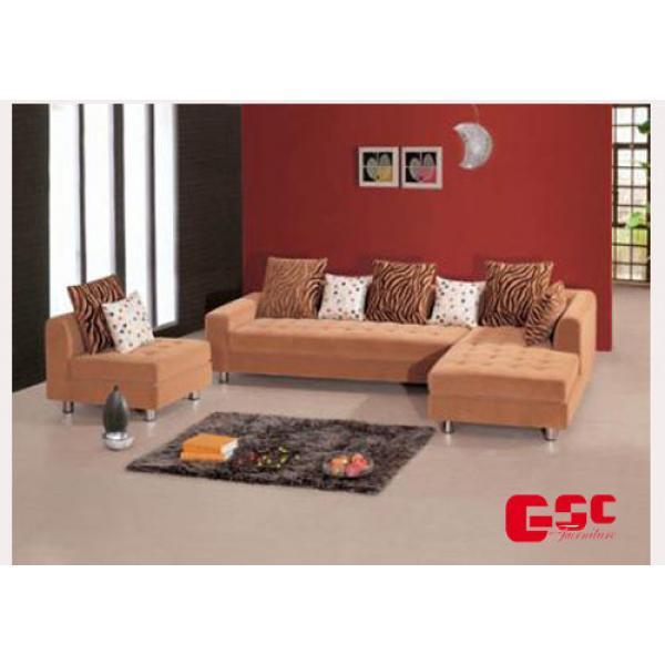 Sofa nỉ cao cấp, màu nâu gạch, đệm tựa vân sọc đen SFN16