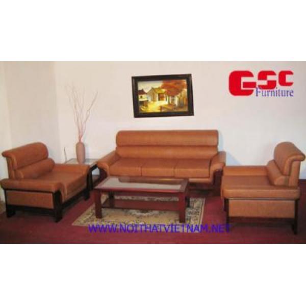 Bộ ghế SOFA da màu nâu, tựa lưng uốn cách điệu GSC-SOFA-D01