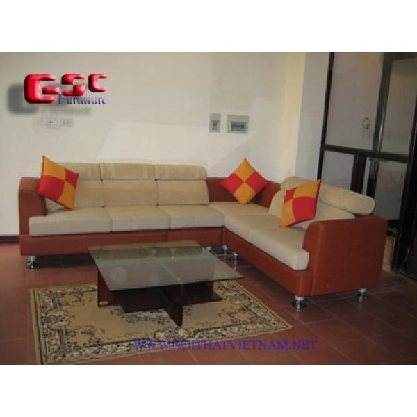 Bộ  sofa góc khung gỗ bọc da cao cấp GSC-SOFA-D09