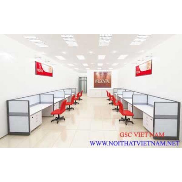 Vách ngăn văn phòng  khung nhôm đình hình bọc nỉ GSC-VNN056