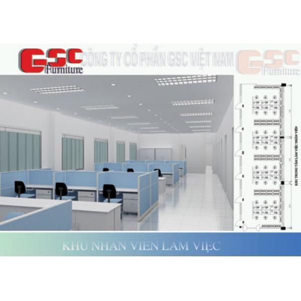 Vách ngăn văn phòng  khung nhôm đình hình bọc nỉ GSC-VNN061