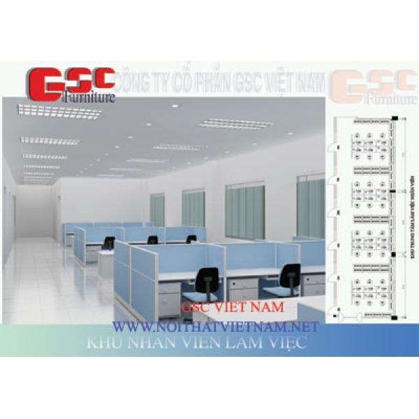Vách ngăn văn phòng  khung nhôm đình hình bọc nỉ GSC-VNN062