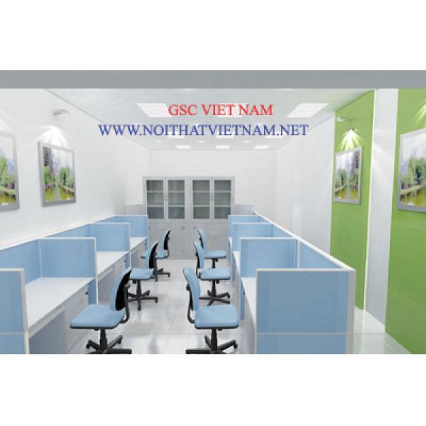 Vách ngăn văn phòng khung nhôm đình hình bọc nỉ GSC-VNN063